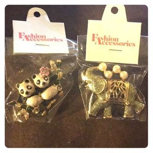 Panda and Elephant Brooches